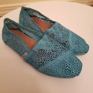 Tom's Turquoise Crochet Classic Ballet Flats